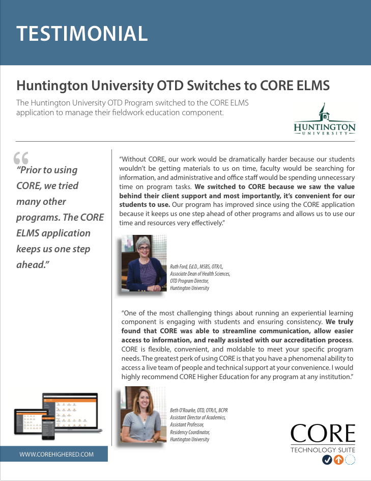 Testimonial on ELMS from Huntington University