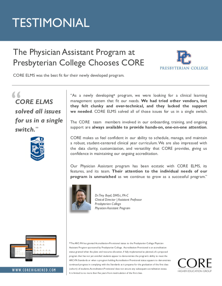 Testimonial from Presbyterian College