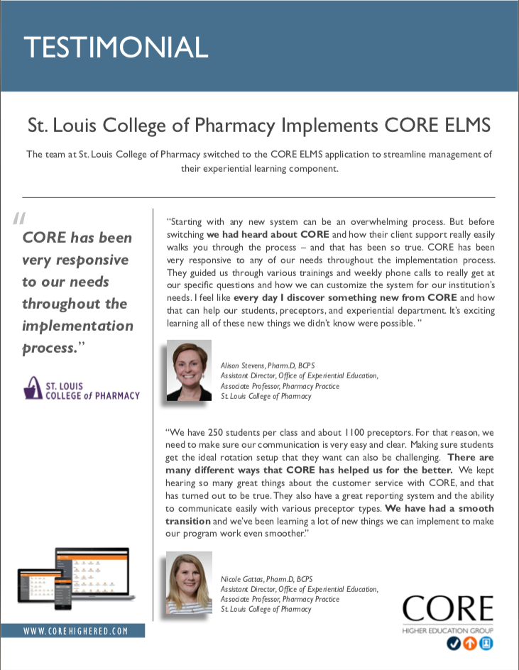 Testimonial on ELMS from St. Louis College of Pharmacy
