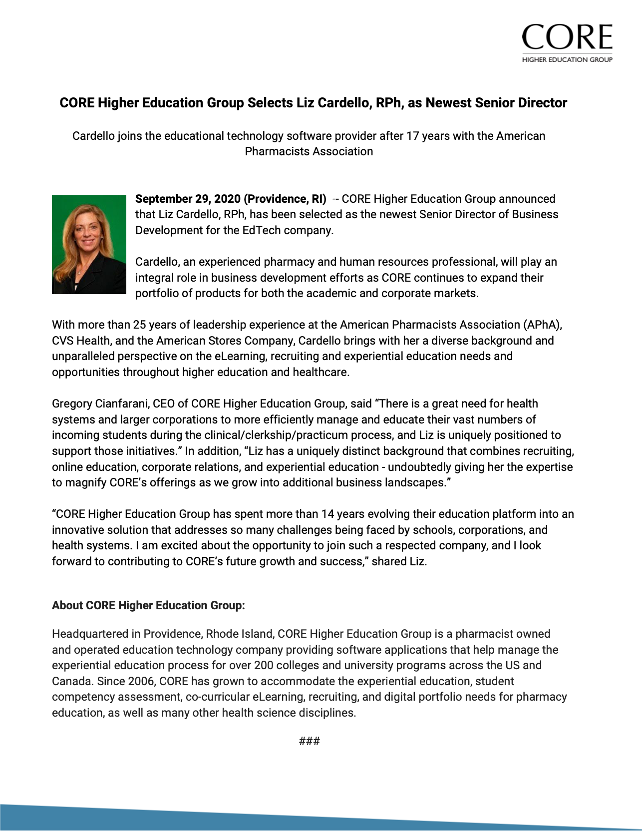 CORE Higher Education Group Selects Liz Cardello, RPh, as Newest Senior Director